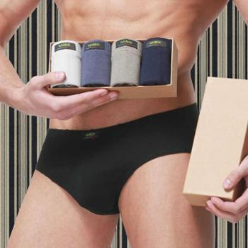 4条盒装男内裤男士三角裤中腰短裤U凸全棉男纯棉内裤男三角裤透气