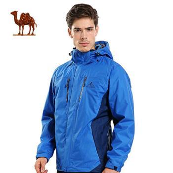 骆驼红企鹅三合一情侣户外抓绒冲锋衣男女两件套