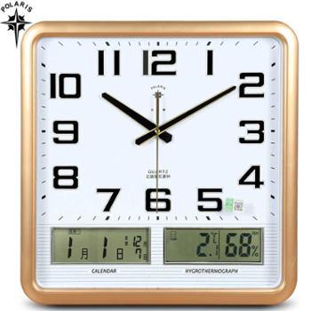 北极星电子挂钟 客厅卧室办公钟表静音日历时钟大号石英钟温湿度