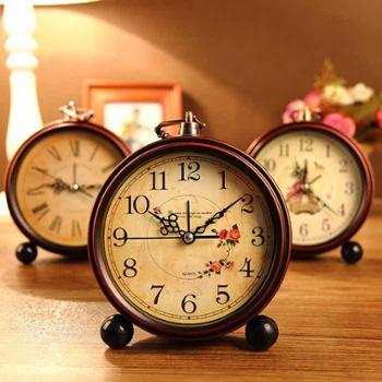 复古欧式田园创意闹钟懒人静音学生闹钟简约床头小闹钟座钟台钟
