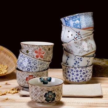 景德镇 日式釉下彩陶瓷碗餐具套装 小米饭碗 饭碗家用 小汤碗  十个装