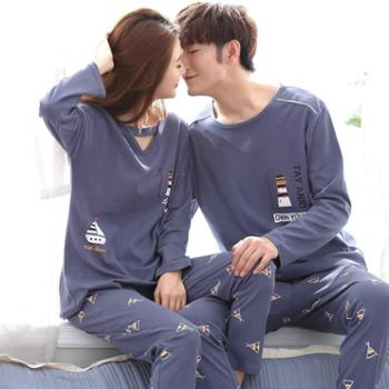 韩版春秋季情侣睡衣纯棉长袖女士甜美可爱夏季学生男士家居服套装