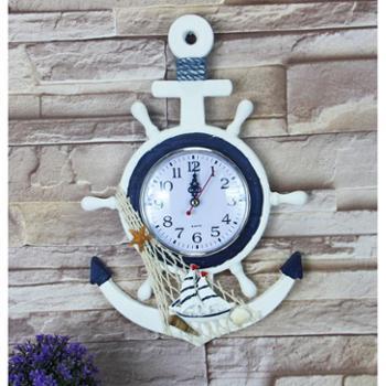 地中海风格船锚船舵造型挂钟创意家居装饰