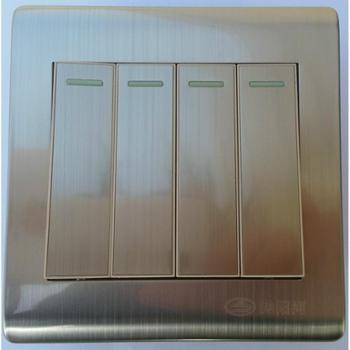 浏阳河电器四位单控开关86型A5系列拉丝款金属银