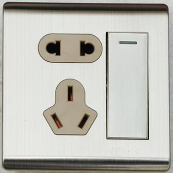 浏阳河电器一位双控开关带二三极插座86型A5系列拉丝款金属银