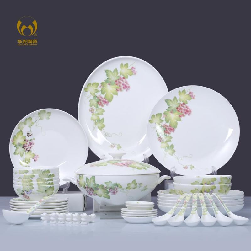 华光陶瓷 42头紫玉情缘 骨瓷餐具套装 釉中彩 碗盘碟套装礼盒图片