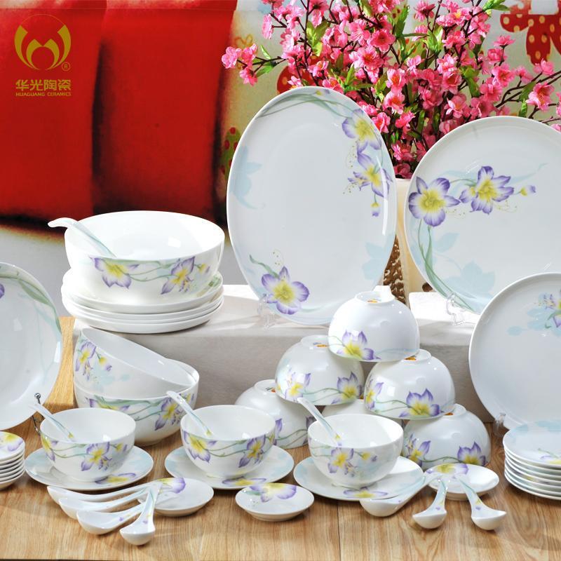 华光陶瓷 56头若芷兰芯 骨瓷餐具套装 釉中彩 碗盘碟套装图片