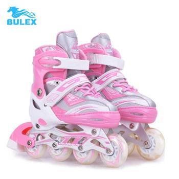 直排轮溜冰鞋儿童闪光可调轮滑鞋全套超轻旱冰鞋男女单排平花式鞋