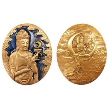 中国佛像纪念章(第四组)月光菩萨小铜章