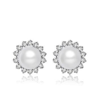 仙蒂瑞拉SANDYRILLA复古优雅扁圆亮泽珍珠耳钉S925银镶嵌-绽放