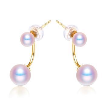 仙蒂瑞拉SANDYRILLA一款两戴18K金4-7mm日本海水珍珠时尚耳钉