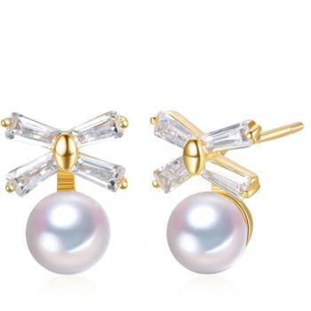 仙蒂瑞拉SANDYRILLA精致优雅6-6.5mm淡水珍珠925银耳钉附证书