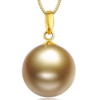 仙蒂瑞拉 菲律宾一号南洋金珠吊坠 强光正圆无瑕18K金海水珍珠吊坠11-12mm