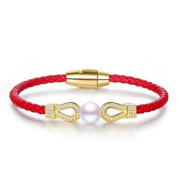 仙蒂瑞拉魅力红绳7.5-8mm淡水珍珠手链经典百搭本命年礼物附鉴定证书