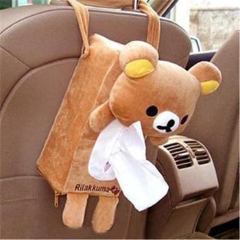 车用卡通椅背挂式纸巾盒 创意 可爱动物抽纸盒套 汽车用品
