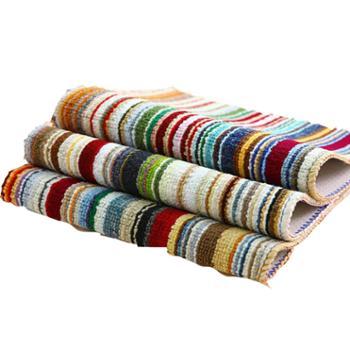 小彩条方形地垫 厨房卫生间防滑门垫 浴室地垫 57*36.5cm(2个)