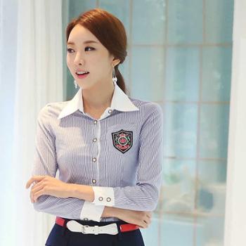 浪漫雅莎品牌正品韩版时尚职业衬衫大码女装衬衫女长袖修身棉休闲衬衣