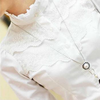 新款白衬衫女长袖职业韩版荷叶边上衣立领打底白色衬衣