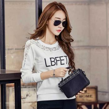 新款拼接蕾丝字母学生白色韩版卫衣女士上衣潮NFM-1819