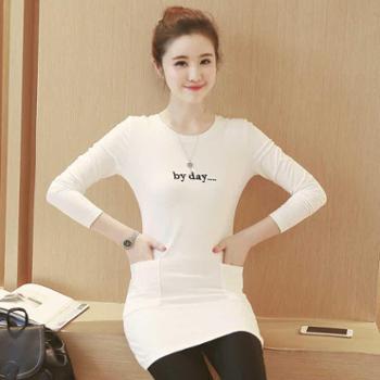 春装新款简约刺绣字母中长款侧口袋长袖T恤韩版卫衣女NFM-1806