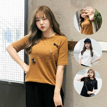 春季新款韩版大码女装200斤胖MM珍珠蝴蝶结T恤加大加肥ST-1055