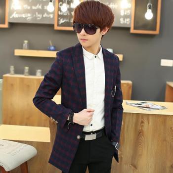 男士中长款休闲羊绒毛呢子大衣英伦男装韩版修身风衣外套SLS-9815-145