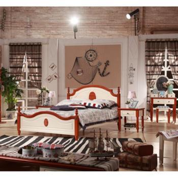 地中海风格实木床家具美式乡村 储物床 田园床 双人床 简约大床 实木床