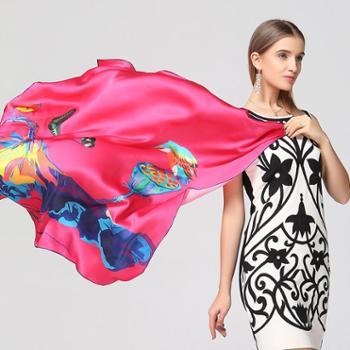 伊伊爱桑蚕丝真丝围巾方巾大披肩原创设计图案丝巾围巾礼盒装包邮