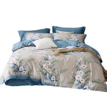 伊伊爱60S纯棉磨毛四件套欧式宽边系列床上用品套件