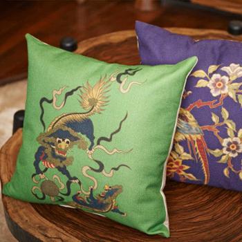 置家新古典中式会所吉祥图案靠垫床头靠枕茶艺室办公室棉麻抱枕
