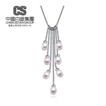 中国白银集团 银925珍珠项链 银珍珠毛衣链 时尚韩版项链 (流苏情怀)