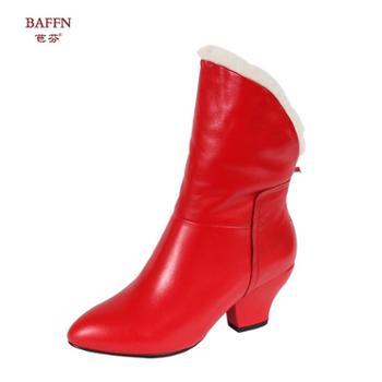 芭芬新款方跟纯色毛边圆尖头后拉链欧美简约短靴