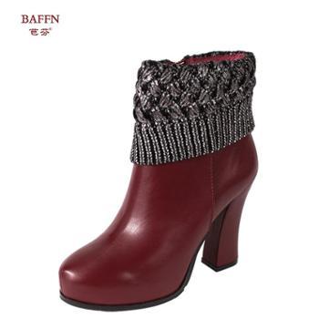 芭芬新款头层牛皮毛线口拼接时尚英伦女靴