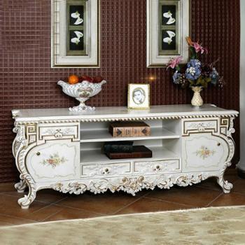 逸邦欧式电视柜实木电视柜法式客厅象牙白视听柜实木雕花电视桌