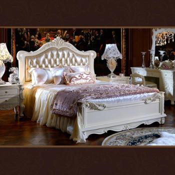 逸邦全实木家具 欧式纯实木床 真皮床 奢华公主床法式床 1.8婚床