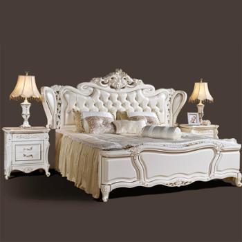 逸邦全实木家具 欧式纯实木床真皮床 奢华法式床 1.8婚床