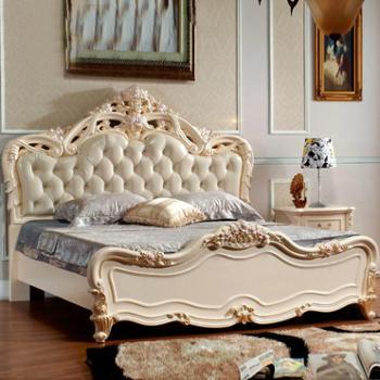 逸邦全实木家具 欧式纯实木床真皮床 1.8婚床 奢华法式床