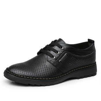 米斯康男鞋凉鞋正品鞋夏季休闲镂空洞洞鞋韩版系带男皮鞋男单鞋子983