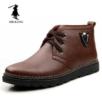 米斯康保暖冬季男鞋男士棉鞋休闲皮鞋潮流英伦牛皮高帮鞋子潮818