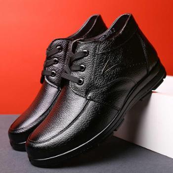 米斯康男士棉鞋冬季加绒保暖牛皮男鞋商务休闲高帮鞋子皮鞋男棉鞋356