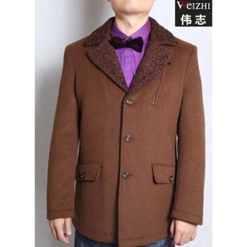 伟志男装翻领毛呢大衣仿羊羔领毛呢大衣DY4603