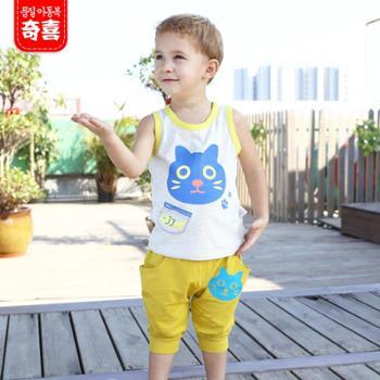 2015夏季男宝宝新款半袖猫咪哈伦套装