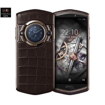 8848 钛金手机 M5私人订制鳄鱼皮智能商务加密轻奢手机 全面屏双卡双待 全网通4G 8核256G 巧克力棕鳄鱼皮