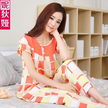 妮狄娅居家服夏季新款粘纤睡衣夏女格子棉质短袖圆领休闲长裤套装家居服52085