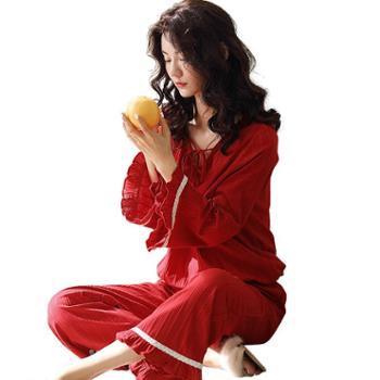妮狄娅家居服秋季纯棉女士睡衣九分袖大红色婚庆结婚新娘本命年春秋居家服XF93130