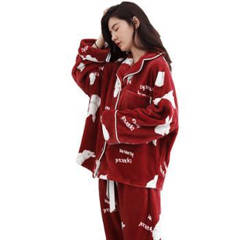 妮狄娅女士睡衣长袖家居服加厚珊瑚绒保暖法兰绒卡通韩版秋冬居家服套装TF94463