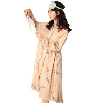 妮狄娅女士家居服纯棉开衫甜美少女可爱娃娃裙睡袍睡裙ZF91103