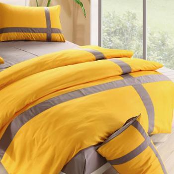 馨暖家纺 春夏纯棉活性印染四件套 纯色拼色时尚十字家纺床上用品010
