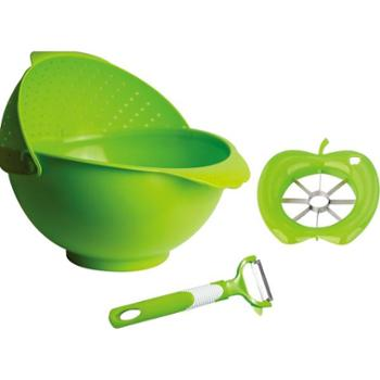 【礼道礼品】赫曼德 多淘器三件套HM-ML005 食品级PP材料+优质不锈钢。刨子可以刨很多种蔬菜,分果器可以分多种水果,适用于清洗大米蔬菜、水果等