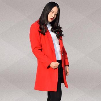 【璐梦诗】加厚毛呢外套大衣女2015秋冬款韩版西装领单扣修身中长款妮子衣